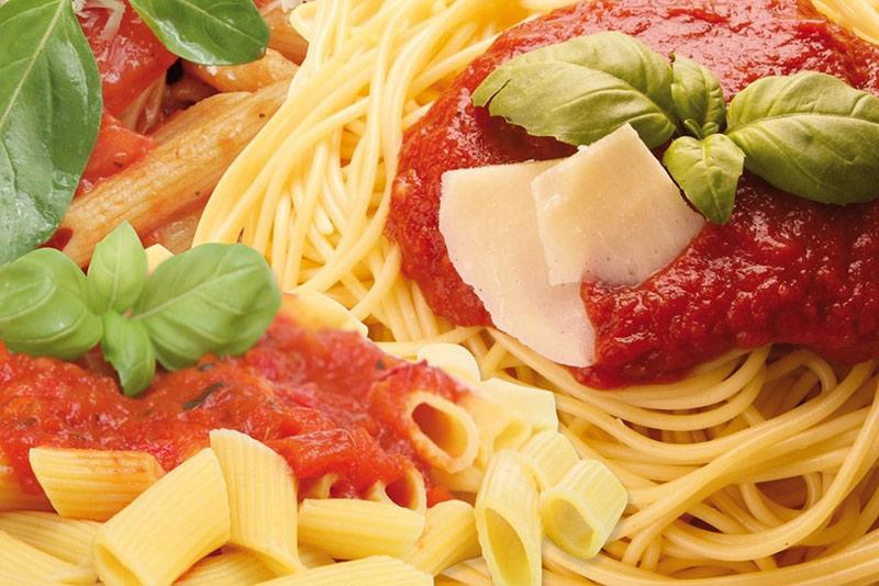 Italian menu, pasta basilico
