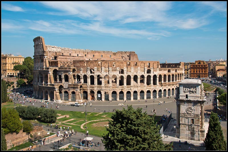 walking through the Roman Forum and the Colosseum